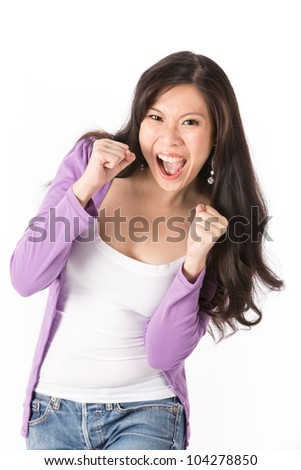 Asian woman looking very happy. Isolated on white. - stock photo