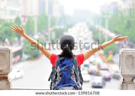 asian woman open arms - stock photo
