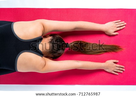 Asian woman play yoga on white background in studio, energy look and healthy, isolated, copy space.