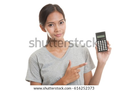 Asian woman point to  calculator  isolated on white background.
