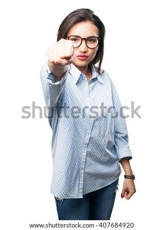 asian woman punching - stock photo