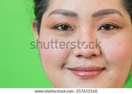 Asian woman's face on a green background. (Thailand women) Asia Thailand.