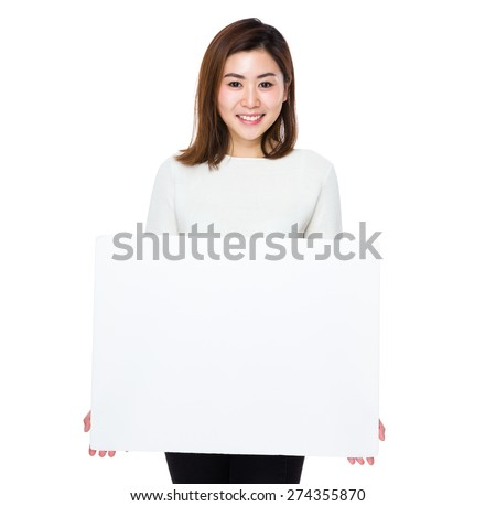 Asian woman show with placard - stock photo