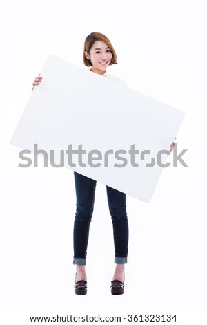 Asian woman showing banner isolated on white background.