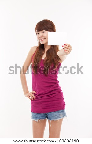 Asian woman showing empty card isolated on white background.