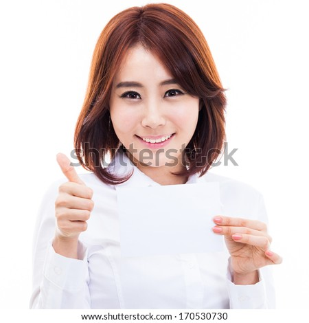 Asian woman showing empty card isolated on white background. - stock photo