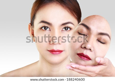 Asian woman showing face - stock photo