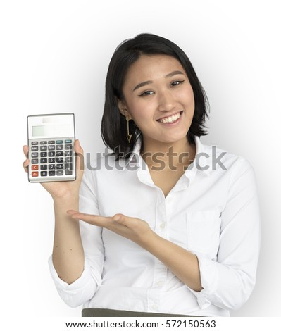 Asian Woman Showing Hand Gesture Calculator