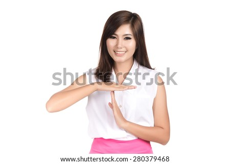 Asian woman showing time out sign with hands and blank copyspace area for text or slogan,Closeup portrait beautiful Asian woman,Thai girl,Human emotion facial expression,isolated on white background - stock photo