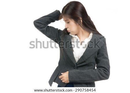 Asian woman smelling,sniffing wet armpit,something stinks,very bad foul odor situation with blank copy space,Portrait of Asian woman,Thai girl,Negative emotion expression,isolated on white background - stock photo