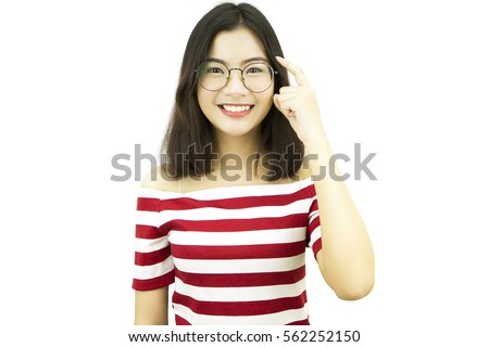 Asian woman smile and relax with happy face, wear eye glasses, isolated white background, pose by young beautiful girl with red white horizontal stripe casual dress at portrait studio.
