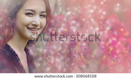 Asian woman smiling  bright bokeh super pink background look nice beautiful teeth.