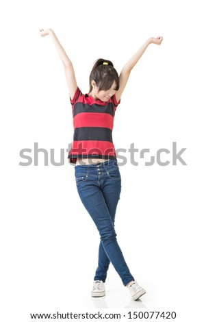Asian woman stretch arms and feel free, full length portrait isolated on white background.