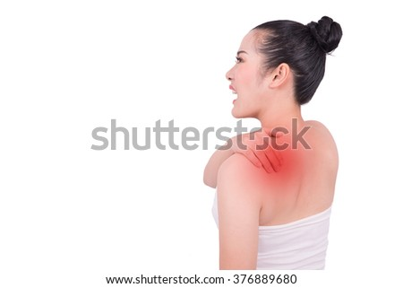 Asian woman suffers from backache with clipping path - stock photo