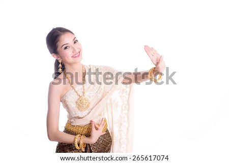 Asian woman traditional dance with white background - stock photo