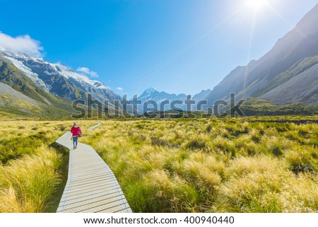 Asian woman travel enjoy at Mt. cook national park in New Zealand - stock photo