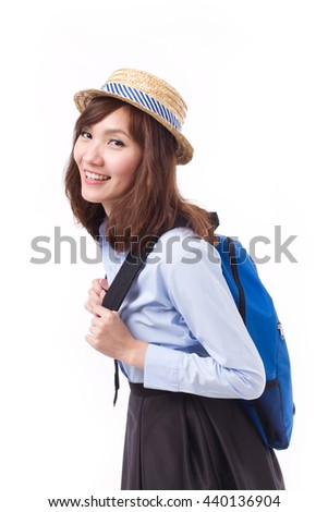 asian woman traveler, studio isolated of woman model