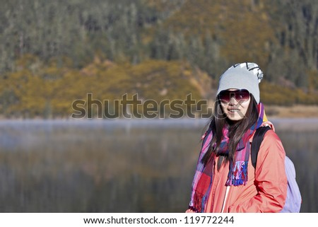 Asian woman travelling in winter