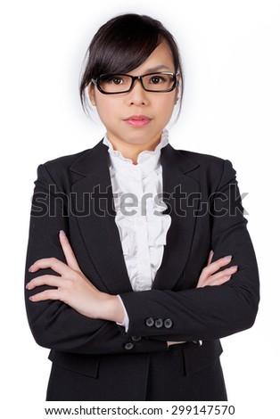 Asian woman wearing glasses eyewear. Portrait of young female professinal business woman wearing glasses - stock photo