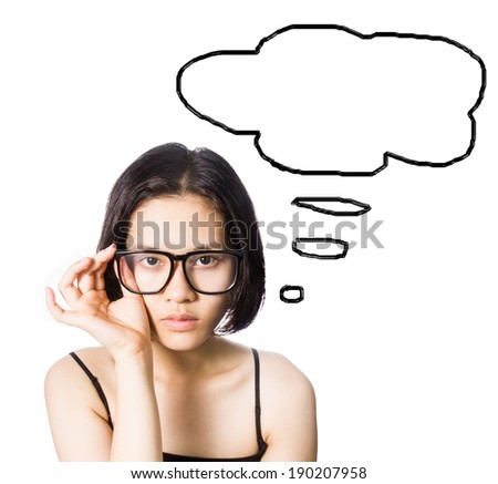 Asian woman wearing glasses with doodle isolated on white.