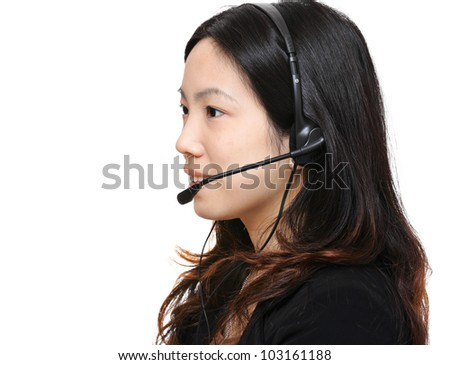 asian woman wearing headset - stock photo