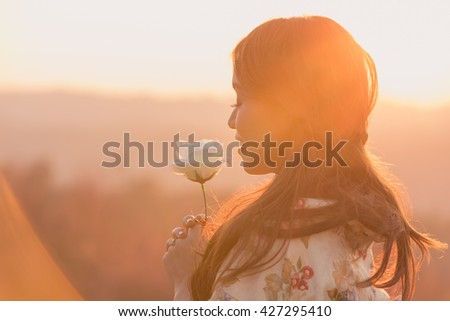 Asian woman wearing traditional Japanese kimono portrait in love use of soft light - stock photo