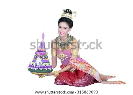 Asian woman wearing typical thai dress with isolated on white background, identity culture of thailand,Loy Kratong Festival - stock photo