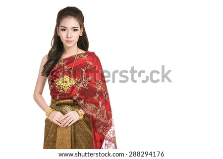 Asian Woman Wearing Typical Traditional Red Thai Dressvintage Original Thailand Attire
