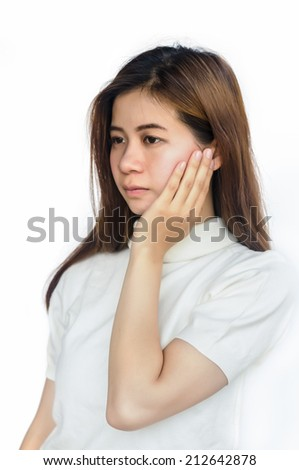 Asian woman with a toothache isolated on white background.