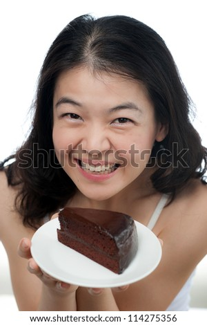 Asian Woman with chocolate cake