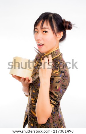 asian woman with dim sum basket ready to eat