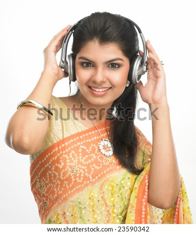 Asian woman with head phones - stock photo
