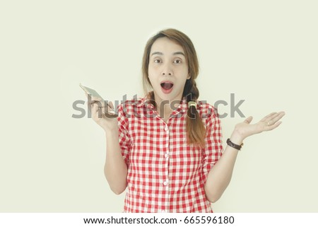 Asian woman with mobile phone gesture