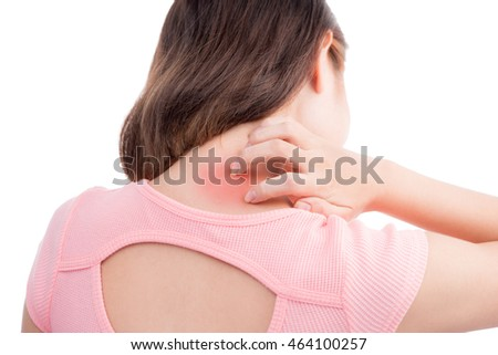 Asian woman with pain in her neck and shoulder, Isolated over white background.