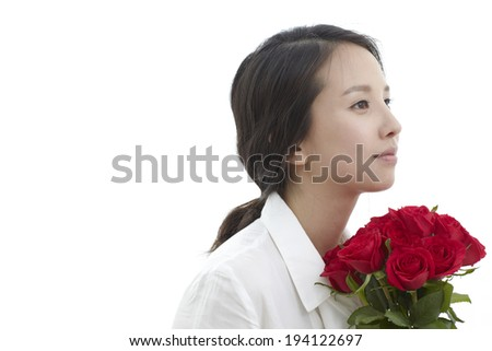 Asian woman with roses