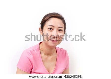 Asian woman with smiley face.