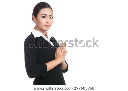 Asian woman with Thai culture Sawasdee,Thai girl,welcome expression isolated on white background - stock photo