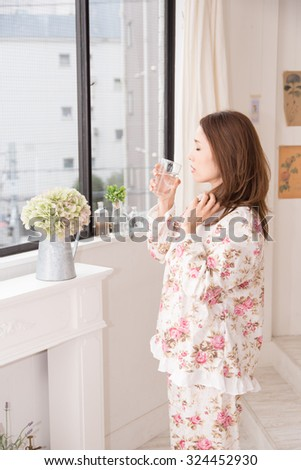 asian woman with water