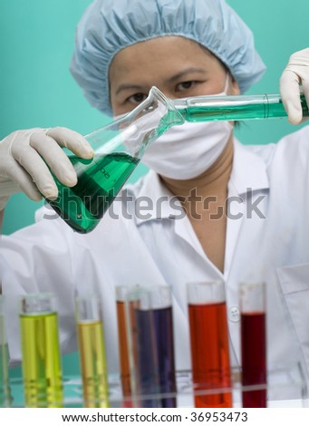 Asian woman working in a medical lab