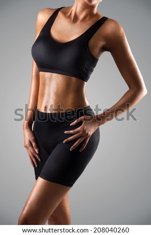 Asian women body, Isolated on grey background - stock photo