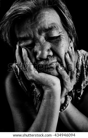 Asian women filling sad ,black and white tone