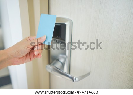 Asian women hand hold card for door access control scanning key card to lock and unlock & Asian Women Hand Hold Card Door Stock Photo (Edit Now)- Shutterstock