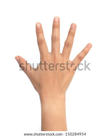 Asian women hand in number sign isolated on white background.