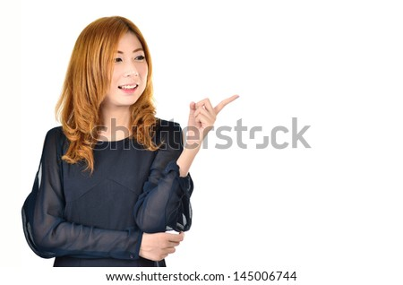 Asian women pointing with white backgound