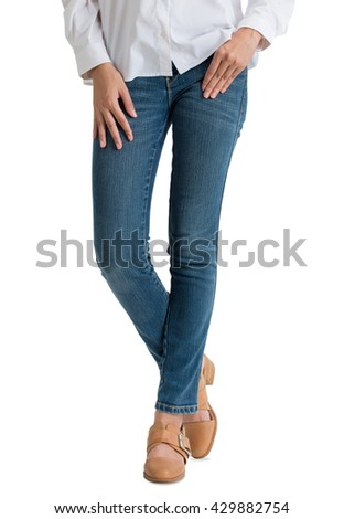 asian women posing in blue jeans and white shirt with front side, isolated on white background.