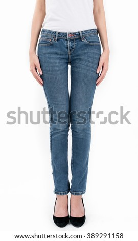 asian women posing in jeans and white T-shirt front views,isolated on white background. - stock photo