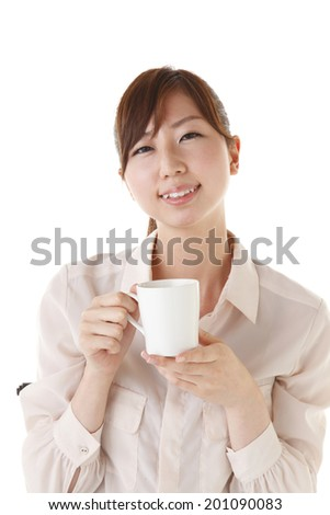 Asian Women who drink coffee
