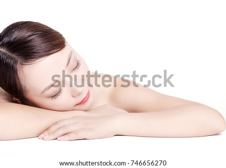 Asian women who massage on white background
