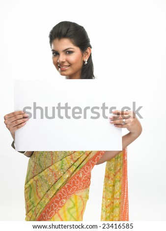 Asian women with the white board - stock photo