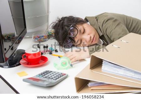 asian working woman on white background